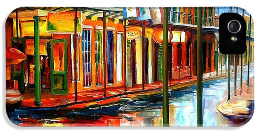 New Orleans IPhone 5 Case featuring the painting Downpour On Bourbon Street by Diane Millsap