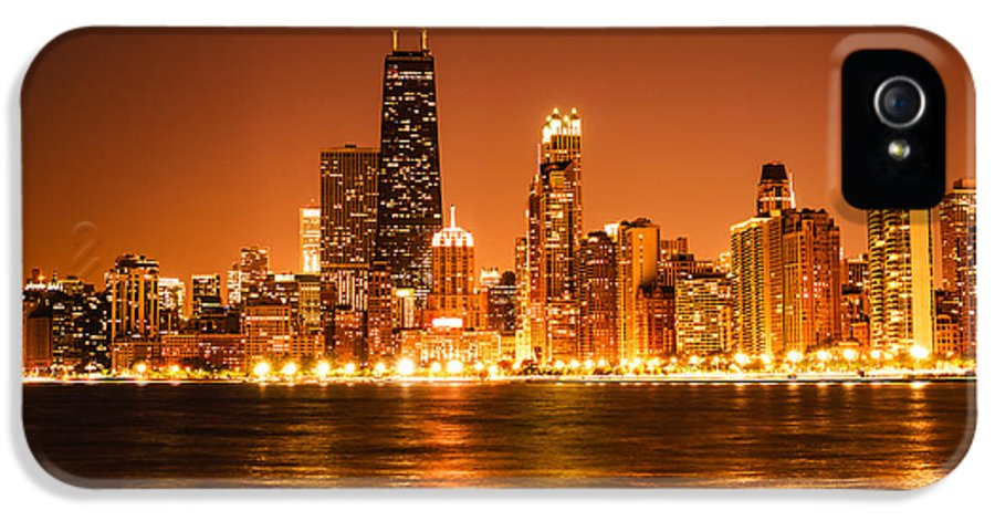 2012 IPhone 5 Case featuring the photograph Downtown Chicago At Night With Chicago Skyline by Paul Velgos
