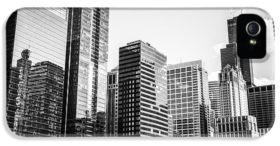2012 IPhone 5 Case featuring the photograph Downtown Chicago Buildings In Black And White by Paul Velgos