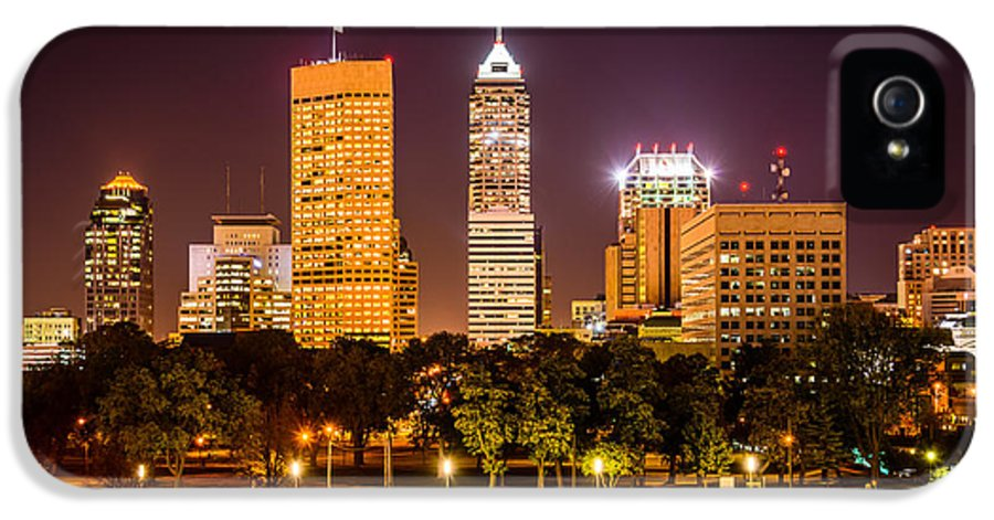 America IPhone 5 Case featuring the photograph Downtown Indianapolis Skyline At Night Picture by Paul Velgos