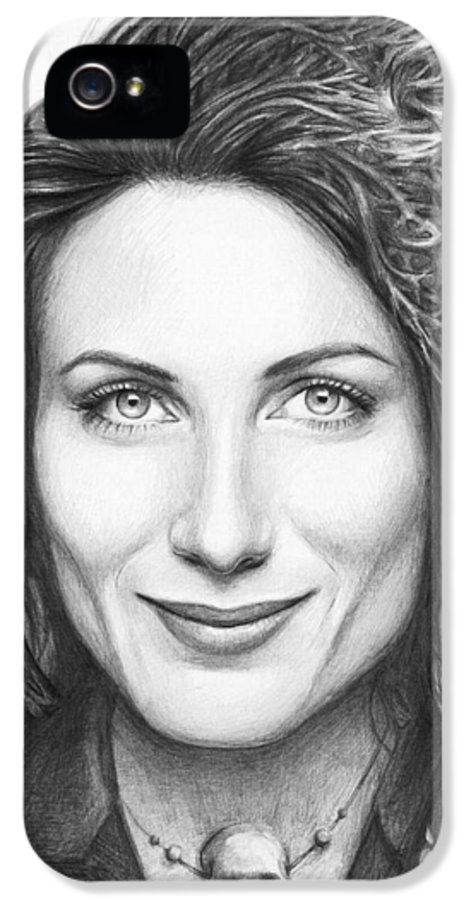 House Md IPhone 5 Case featuring the drawing Dr. Lisa Cuddy - House Md by Olga Shvartsur