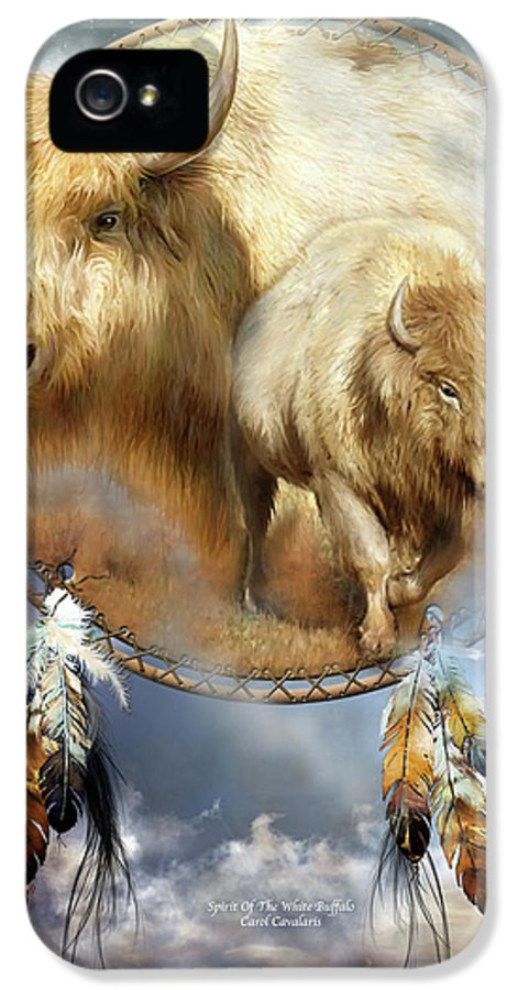 Carol Cavalaris IPhone 5 Case featuring the mixed media Dream Catcher - Spirit Of The White Buffalo by Carol Cavalaris