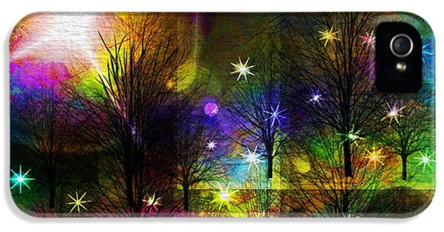 Abstract IPhone 5 Case featuring the painting Dream Time In The Park by Sydne Archambault