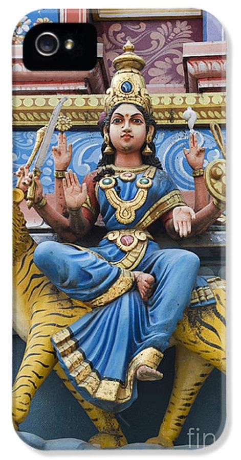 Durga IPhone 5 Case featuring the photograph Durga Statue On Hindu Gopuram by Tim Gainey