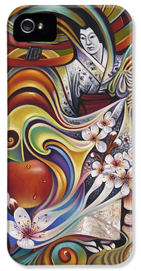 Cherry-blossoms IPhone 5 Case featuring the painting Dynamic Blossoms by Ricardo Chavez-Mendez
