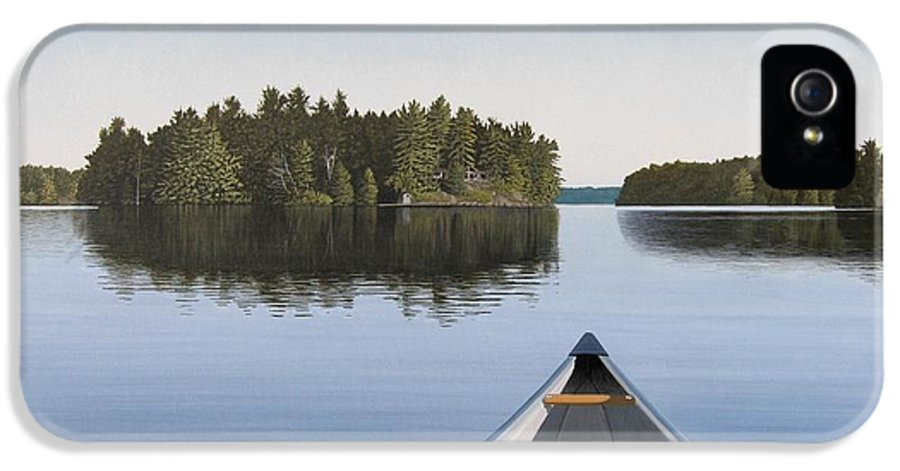 Canoe IPhone 5 Case featuring the painting Early Evening Paddle by Kenneth M Kirsch