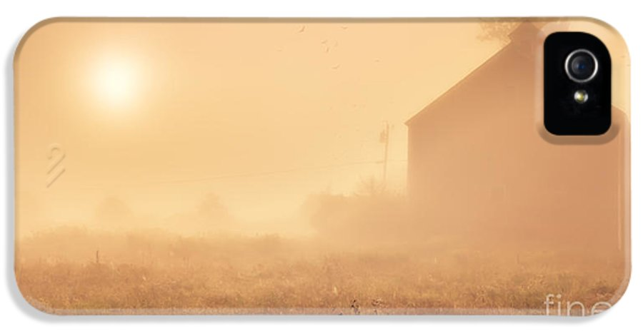 Etna IPhone 5 Case featuring the photograph Early Foggy Morning On The Farm by Edward Fielding
