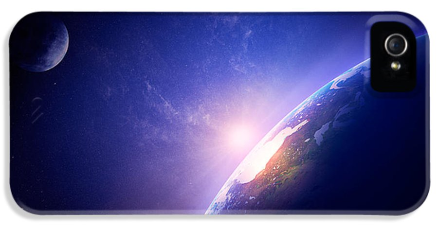 Earth IPhone 5 Case featuring the photograph Earth Sunrise In Foggy Space by Johan Swanepoel