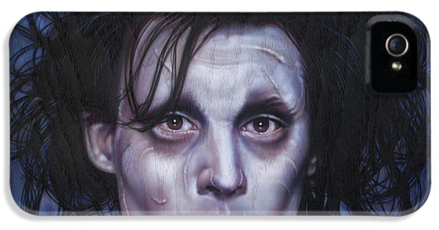Celebrity IPhone 5 Case featuring the painting Edward Scissorhands by Timothy Scoggins