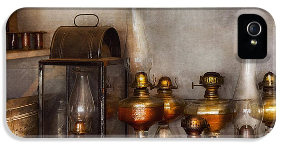 Savad IPhone 5 Case featuring the photograph Electrician - A Collection Of Oil Lanterns by Mike Savad