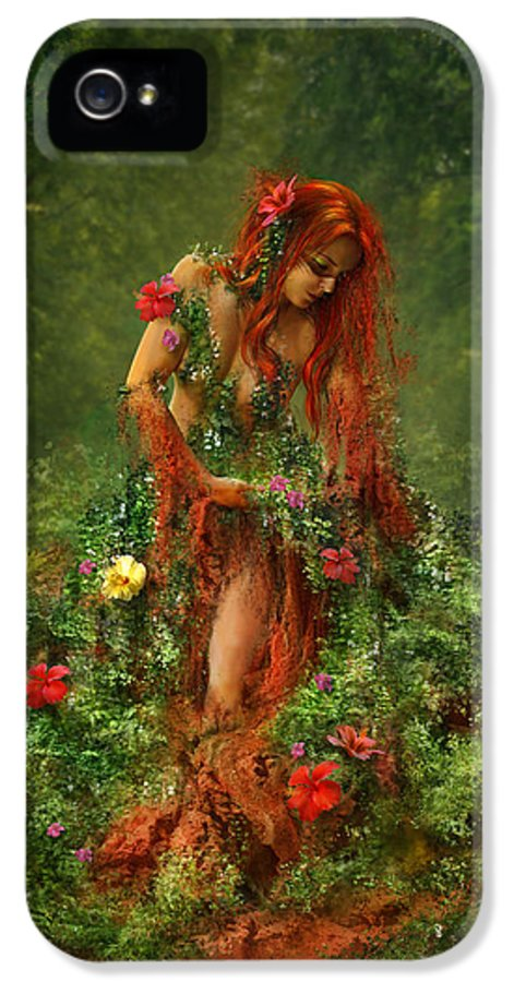 Fantasy IPhone 5 Case featuring the digital art Elements - Earth by Cassiopeia Art