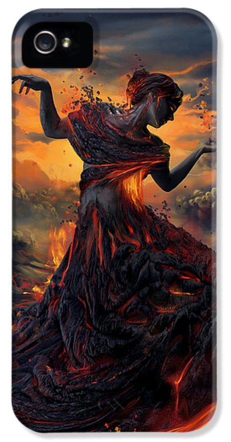 Fire IPhone 5 Case featuring the digital art Elements - Fire by Cassiopeia Art