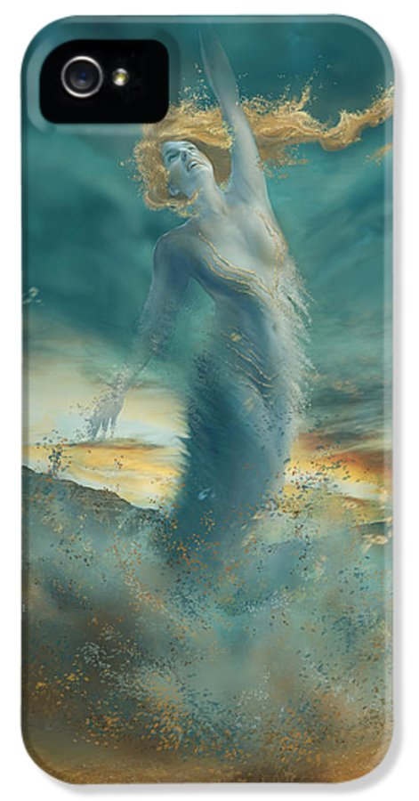 Fantasy IPhone 5 Case featuring the digital art Elements - Wind by Cassiopeia Art