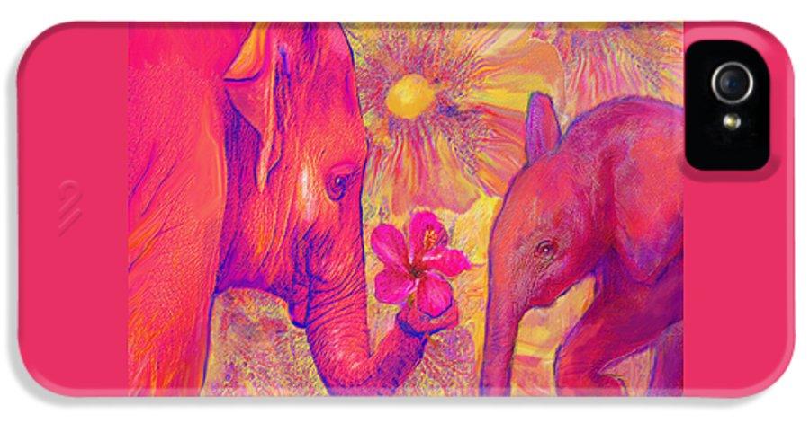 Elephant IPhone 5 Case featuring the digital art Elephant Love by Jane Schnetlage