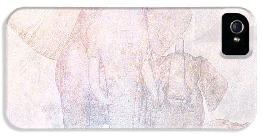 Elephant Group IPhone 5 Case featuring the digital art Elephants - Sketch by John Edwards