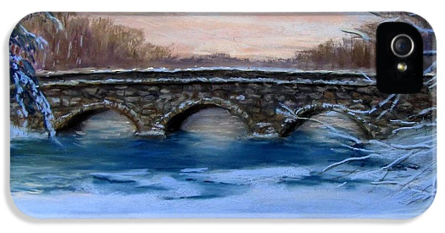 Concord. Winter IPhone 5 / 5s Case featuring the painting Elm Street Bridge On A Winter's Morn by Jack Skinner