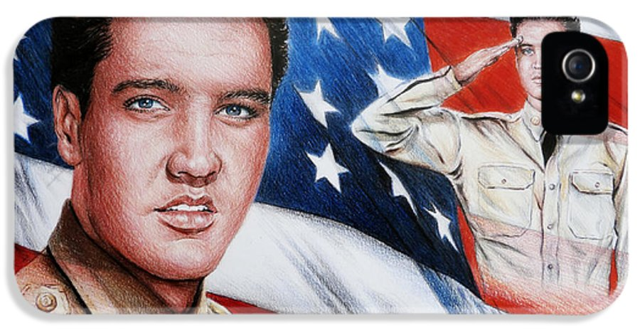 Elvis IPhone 5 Case featuring the painting Elvis Patriot by Andrew Read