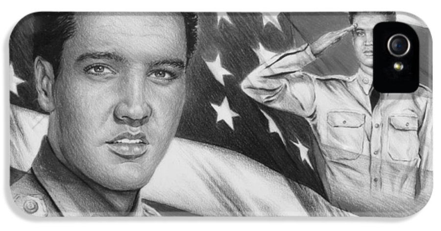 Elvis IPhone 5 Case featuring the drawing Elvis Patriot Bw Signed by Andrew Read