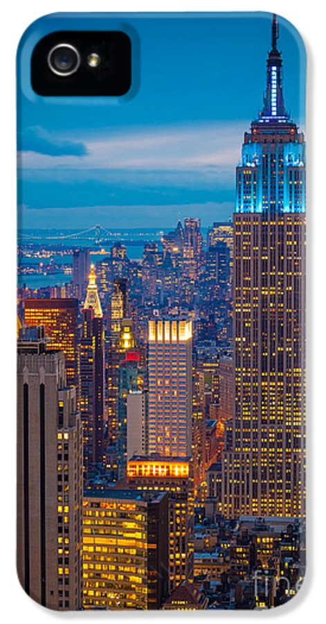 America IPhone 5 Case featuring the photograph Empire State Blue Night by Inge Johnsson