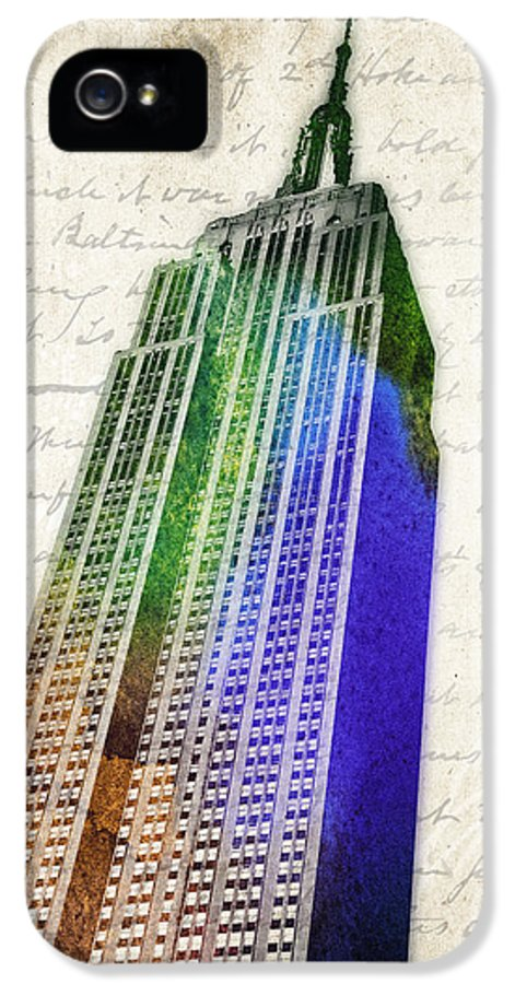 Empire State Building IPhone 5 Case featuring the digital art Empire State Building by Aged Pixel