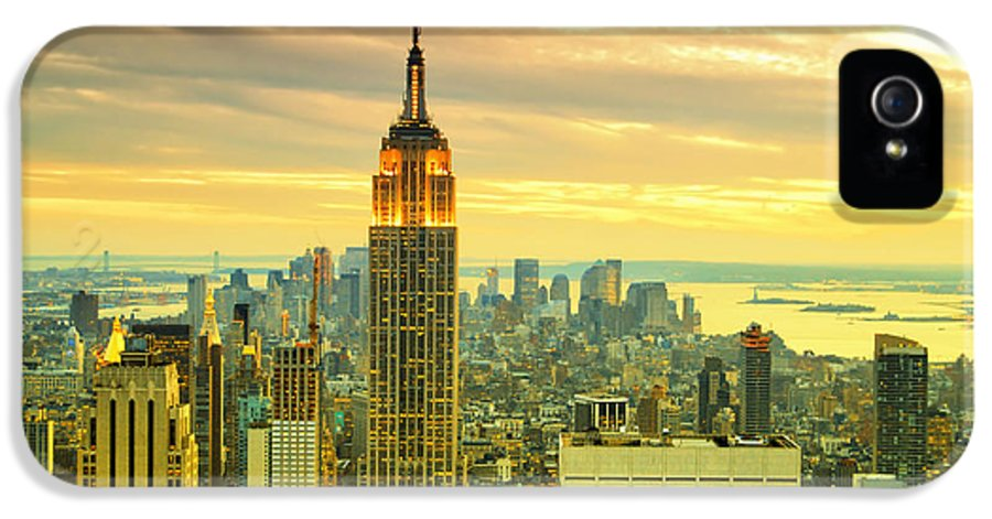 New York City IPhone 5 / 5s Case featuring the photograph Empire State Building In The Evening by Sabine Jacobs