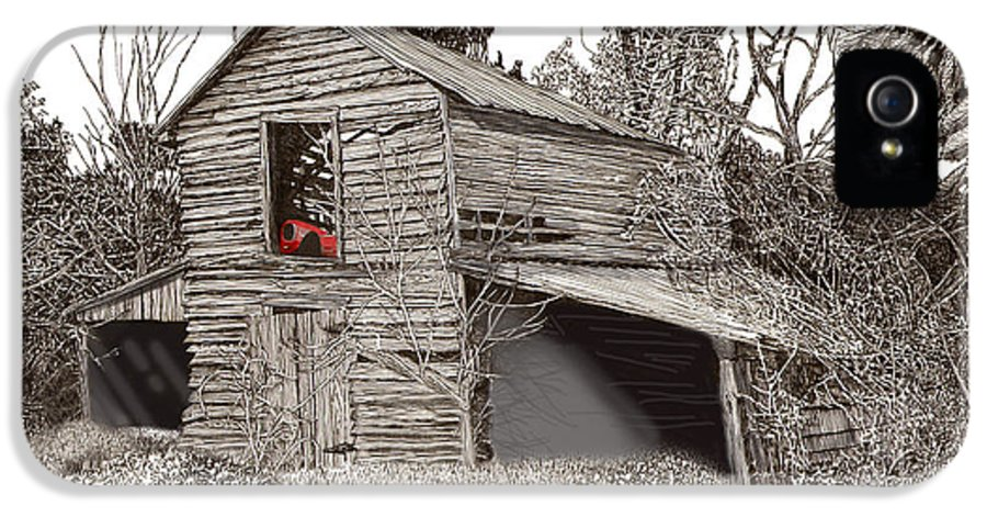 Selective Coloring Art IPhone 5 Case featuring the drawing Empty Old Barn by Jack Pumphrey