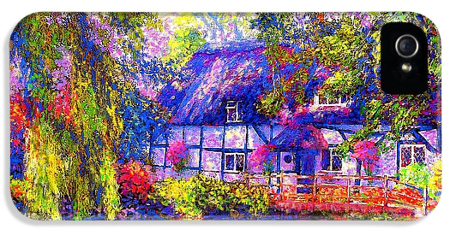 Cottage IPhone 5 Case featuring the painting English Cottage by Jane Small