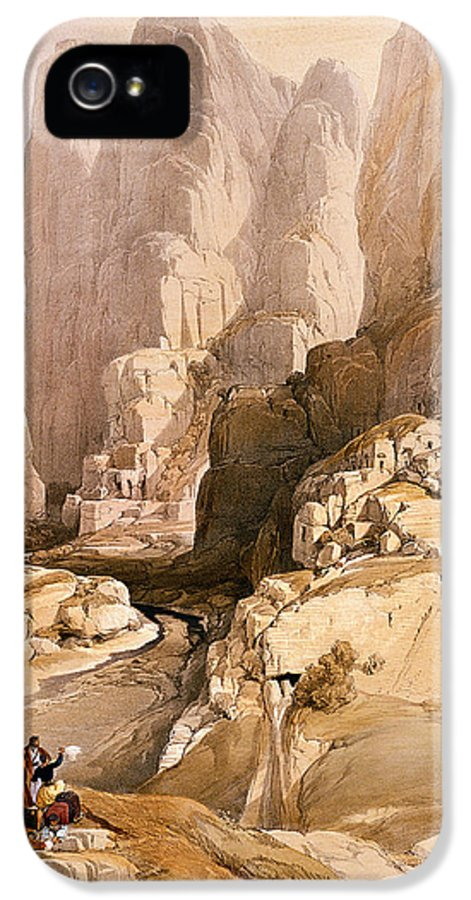 David IPhone 5 Case featuring the painting Entrance To Petra by David Roberts
