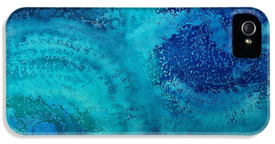 Abstract IPhone 5 Case featuring the painting Equivalent Space Original Painting by Sol Luckman