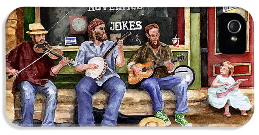 Banjo IPhone 5 Case featuring the painting Eureka Springs Novelty Shop String Quartet by Sam Sidders