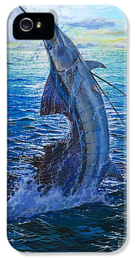 Sailfish IPhone 5 Case featuring the painting Evening Bite by Carey Chen