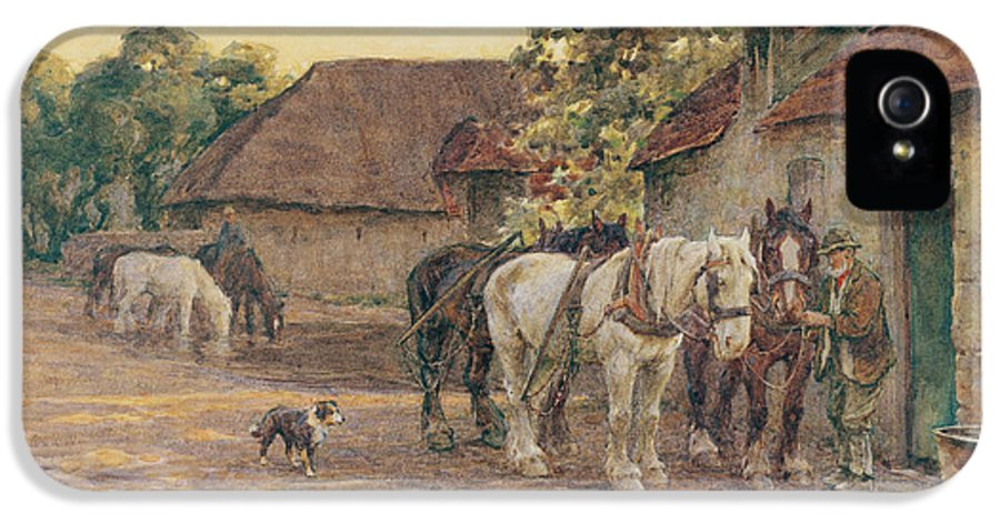 Horses IPhone 5 Case featuring the painting Evening by Joseph Harold Swanwick