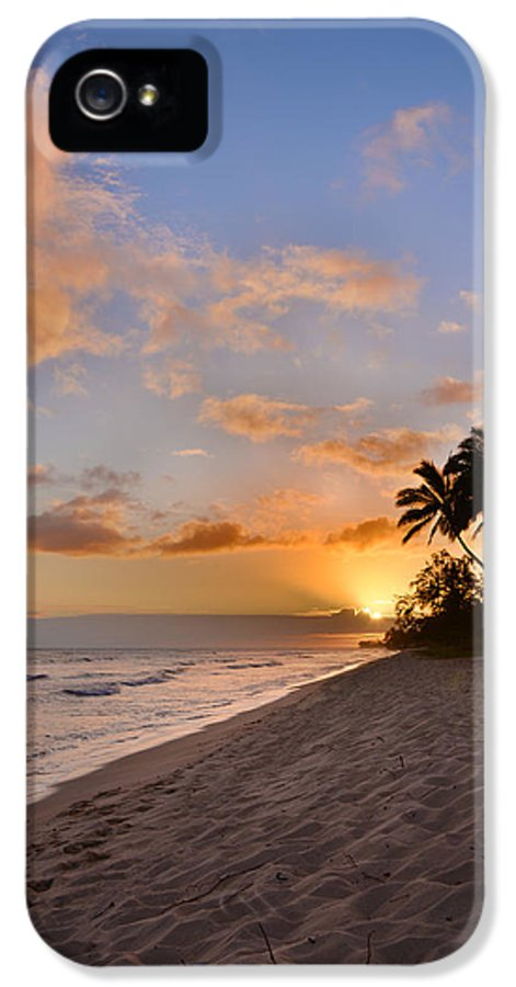 Ewa Beach State Park Palm Tree Sunset Oahu Hawaii Hi IPhone 5 Case featuring the photograph Ewa Beach Sunset 2 - Oahu Hawaii by Brian Harig