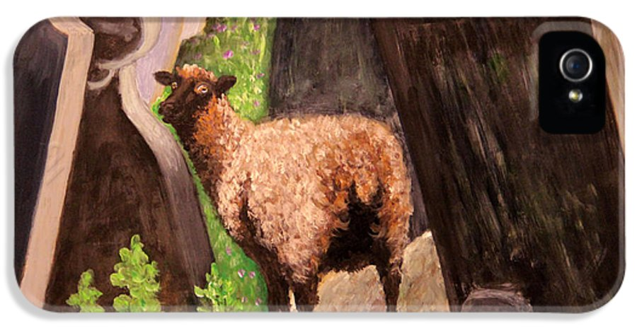 Ewes IPhone 5 Case featuring the painting Ewe Spooked? by Janet Greer Sammons