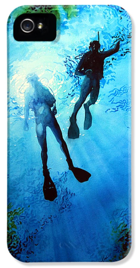 Sports Artist IPhone 5 Case featuring the painting Exploring New Worlds by Hanne Lore Koehler