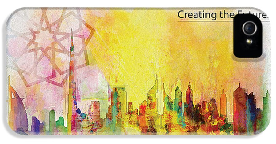 Dubai Expo 2020 IPhone 5 Case featuring the painting Expo Poster 1 by Corporate Art Task Force