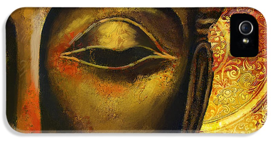 Face Of Buddha IPhone 5 Case featuring the painting Face Of Buddha by Corporate Art Task Force