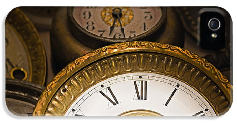 Clock IPhone 5 Case featuring the photograph Face Of Time by Tom Gari Gallery-Three-Photography