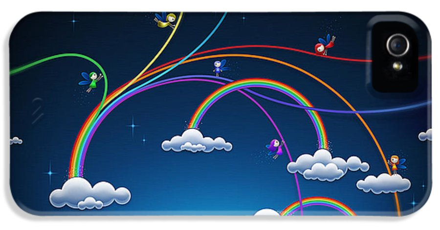 Abstract IPhone 5 Case featuring the drawing Fairies Made Rainbow by Gianfranco Weiss