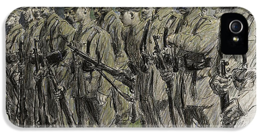 Soldier IPhone 5 Case featuring the pastel Fall In Norfolk Volunteers by Frank Gillett
