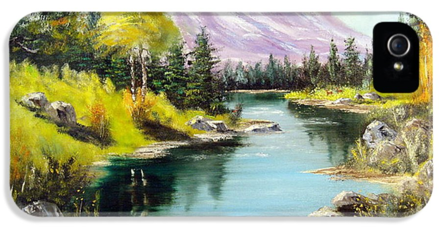 Sky IPhone 5 Case featuring the painting Fall In The Rockies by Lee Piper