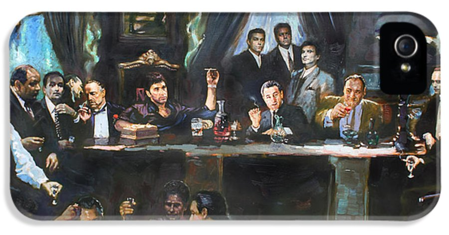Gangsters IPhone 5 Case featuring the painting Fallen Last Supper Bad Guys by Ylli Haruni
