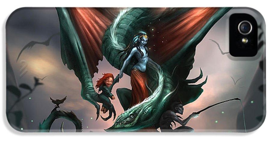 Illustration IPhone 5 Case featuring the digital art Family Dragon by Alex Ruiz