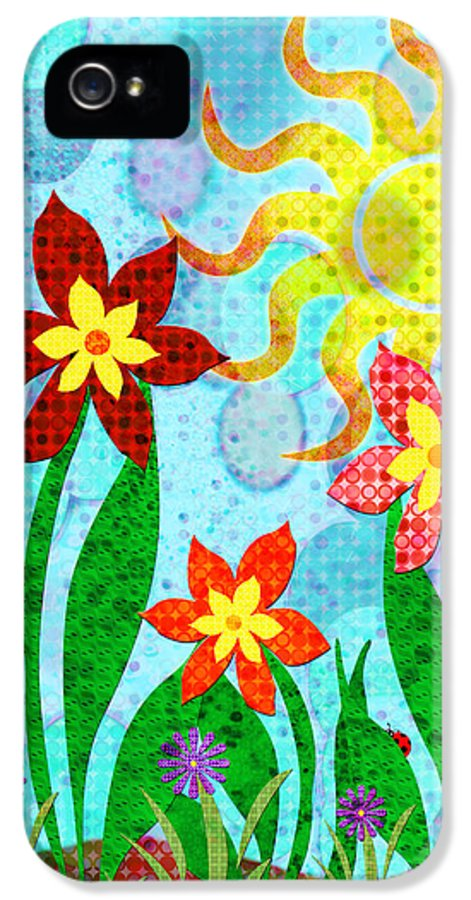 Flower IPhone 5 Case featuring the digital art Fanciful Flowers by Shawna Rowe