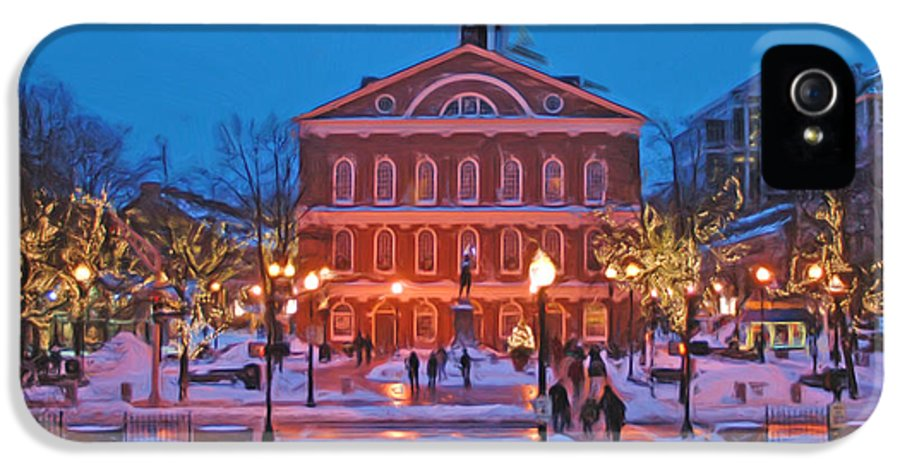 Boston IPhone 5 Case featuring the photograph Faneuil Hall Holiday- Boston by Joann Vitali