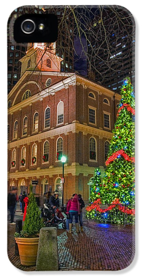 Quincy Market IPhone 5 Case featuring the photograph Faneuil Hall Night by Joann Vitali