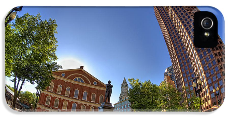Sam Adams IPhone 5 Case featuring the photograph Faneuil Hall Square by Joann Vitali