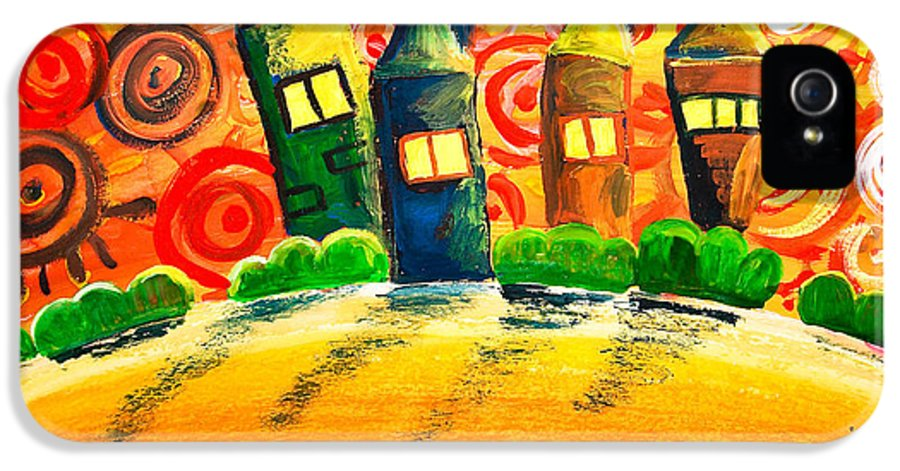 Abstract IPhone 5 Case featuring the painting Fantasy Art - The Village Festival by Nirdesha Munasinghe