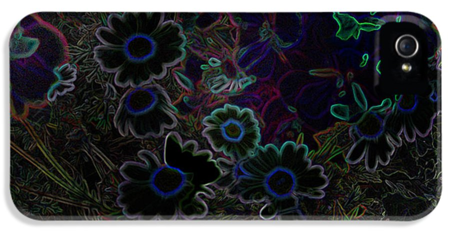Flowers Daisy Night Shade Cathy Peterson IPhone 5 Case featuring the digital art Fantasy Garden No. 3 At Night by Cathy Peterson