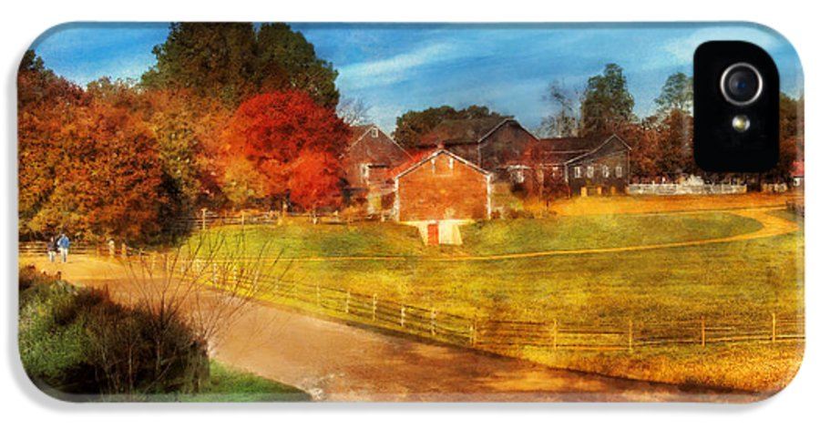 Savad IPhone 5 Case featuring the digital art Farm - Barn - A Walk In The Country by Mike Savad